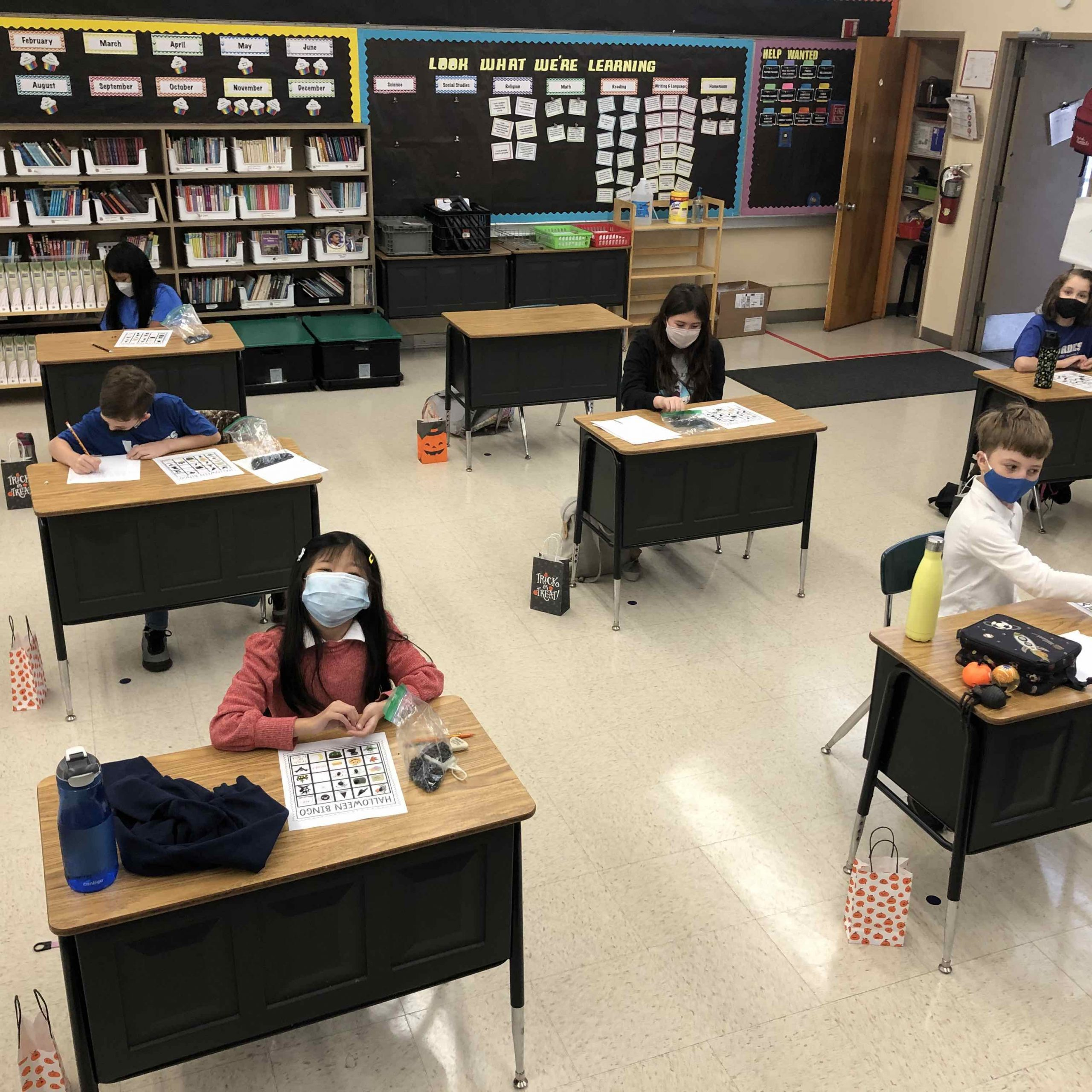 4th grade classroom scene at Our Lady of Lourdes Catholic School