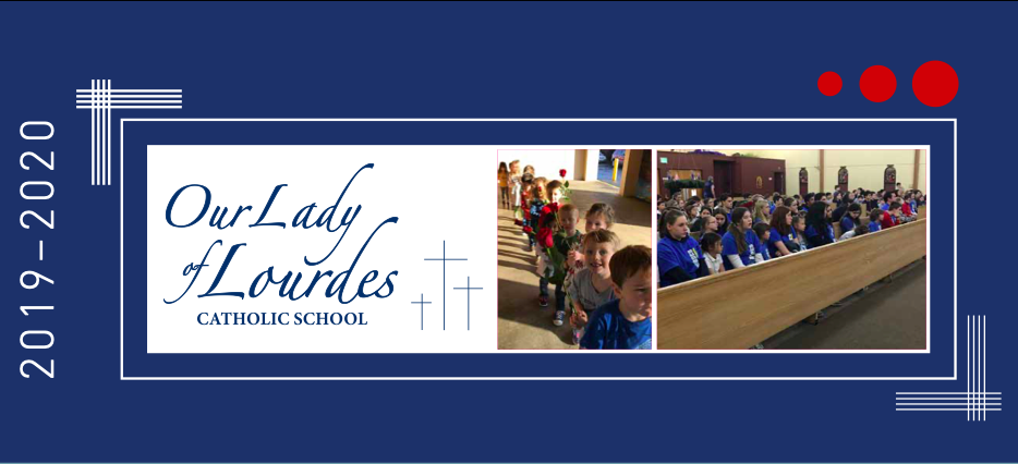 Our Lady of Lourdes Catholic School Graphic with Student Photos